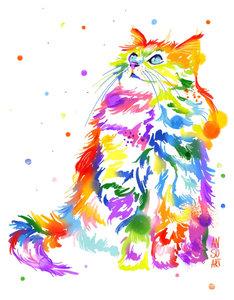 Rainbow aquarel kat